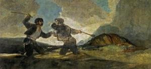 """Duel au gourdin"" Francisco de Goya - Musée du Prado"